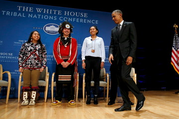Obama arrives to participates in a panel discussion with Ticknor, White and Johnson at the annual White House Tribal Nations Conference in Washington