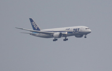 An ANA Boeing Co's 787 Dreamliner plane, which flew from Sapporo, prepares to land at Haneda airport in Tokyo