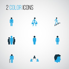 Person Colorful Icons Set. Collection Of Client, Stairs, Group And Other Elements. Also Includes Symbols Such As Man, Relations, Oldster.