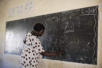 Ceaser teaches mathematics at the Juba One Girls Basic Education School in Juba