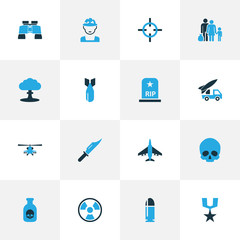 Battle Colorful Icons Set. Collection Of Soldier, Medal, Binoculars And Other Elements. Also Includes Symbols Such As Binoculars, Destroyer, Aircraft.