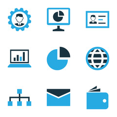 Business Colorful Icons Set. Collection Of Manager, Local Area, Authentication And Other Elements. Also Includes Symbols Such As Circle, Id, Structure.