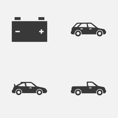 Auto Icons Set. Collection Of Crossover, Hatchback, Accumulator And Other Elements. Also Includes Symbols Such As Sports, Crossover, Station.