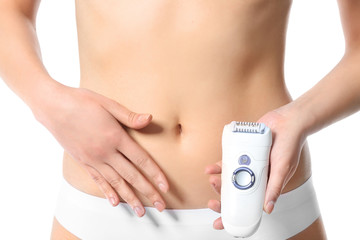 Beautiful young woman with epilator on white background, closeup