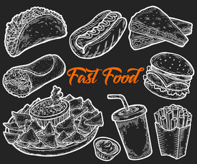 Fast food vector hand drawn set engarving illustration. Other types of fat junk food. Gluten hot dog, burger, tacos, burrito, fries potatoes, tortilla, fajitas engraved. Isolated on black background.