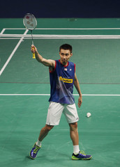Malaysia's Lee celebrates after winning the men's singles final match at the BWF World Superseries Finals in Kuala Lumpur