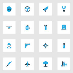 Army Colorful Icons Set. Collection Of Grenade, Knife, Helicopter And Other Elements. Also Includes Symbols Such As Order, Target, Nuclear.