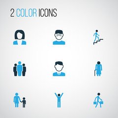 Person Colorful Icons Set. Collection Of Clever, Business, Group And Other Elements. Also Includes Symbols Such As Man, Team, Worker.