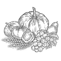 Farmers market badge. Monochrome vintage engraving fresh organic vegetables, wheat and fruits sign isolated on white background. Sketch vector hand drawn illustration. Pumpkin, tomato, grape,avocado