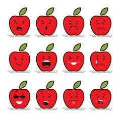 Set of 12 modern flat emoticons: Red apple with leaf, food, fruit, smile, sadness and other emotions. Vector illustration isolated of red background.