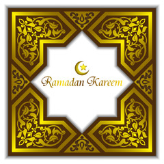 Vector Ramadan muslim background, greeting card with gold ornaments and the traditional star.