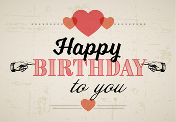 Retro Happy Birthday Card Graphic