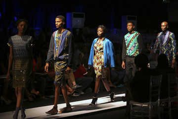 Models present creations by Soboye fashion house during Lagos fashion and design week