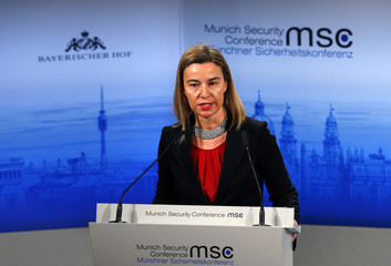European Union foreign policy chief Mogherini addresses during the 51st Munich Security Conference at the 'Bayerischer Hof' hotel in Munich