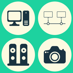 Computer Hardware Icons Set. Collection Of Connected Devices, Camera, Desktop Computer And Other Elements. Also Includes Symbols Such As Connection, Loudspeaker, Speaker.