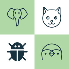Zoo Icons Set. Collection Of Beetle, Diver, Trunked Animal And Other Elements. Also Includes Symbols Such As Penguin, Pussy, Animal.