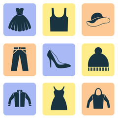 Dress Icons Set. Collection Of Elegant Headgear, Singlet, Cardigan And Other Elements. Also Includes Symbols Such As Hoodie, Hat, Ski.