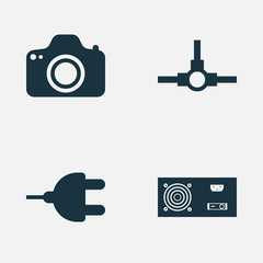 Computer Hardware Icons Set. Collection Of Connector, Network Structure, Camera And Other Elements. Also Includes Symbols Such As Camera, Photo, Power.