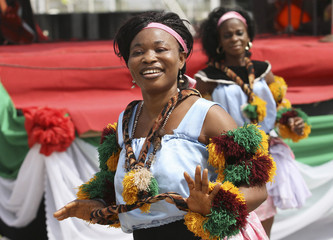Traditional dancers perform before the start of the presidential primaries of ruling PDP in Abuja