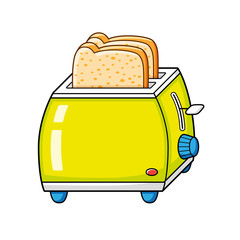Toaster with bread slices isolated.