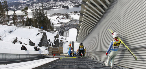 Norway's Lianes walks down the stairs to jump during a test jump in Vikersund