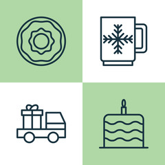 Happy New Year Icons Set. Collection Of Lorry Birthday, Winter Cup, Doughnut And Other Elements. Also Includes Symbols Such As Snowflake, Brioche, Cup.