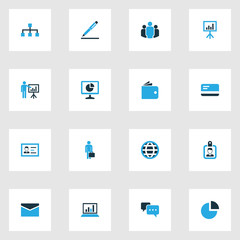 Job Colorful Icons Set. Collection Of Dialog, Globe, Analytics And Other Elements. Also Includes Symbols Such As Agreement, Mail, Envelope.