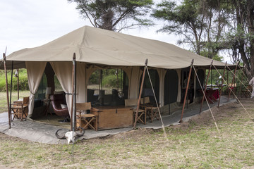 African  safari tent near the river  - Tanzania Africa