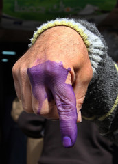 An Iraqi refugee living in Syria displays his finger after voting at a polling station for refugees in al-sayda Zeinab, near the Syrian capital of Damascus