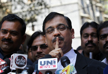 Special Prosecuter Ujjwal Nikam gestures outside the Bombay High Court