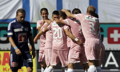 Grasshopper Club's players celebrate the goal of Zuber during their Swiss Super League soccer match against FC Luzern in Lucerne