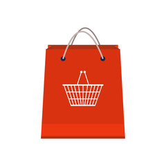 Shopping paper red bag empty with shopping basket logo on it. Shopping concept. Flat design style. Infographic elements. Vector illustration