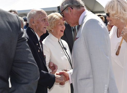 Britain's Prince Charles and Camilla the Duchess of Cornwall meet French Legionnaire and WW2 veteran Murray Maxton at the National Anzac Centre in Albany