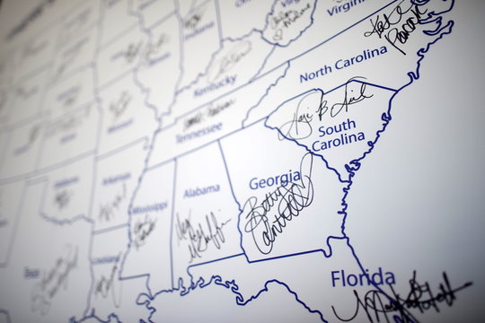 An autograph of Miss America 2016 Betty Cantrell of Georgia is displayed on a map of the United States the day after winning the 95th Miss America Pageant last night at Boardwalk Hall, in Atlantic City, New Jersey