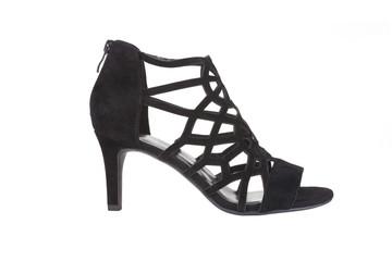Black leather heeled sandal, isolated on white