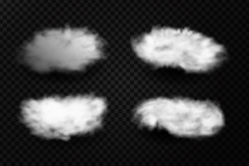 Vector realistic isolated cloud effect on the transparent background.