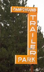 Campground Trailer Park Sign Advertising in Disrepair