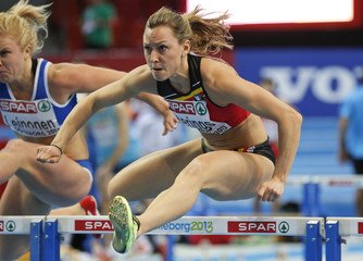 Berings of Belgium competes during the 60m Hurdles Women Round 1 event at the European Athletics Indoor Championships in Goteborg