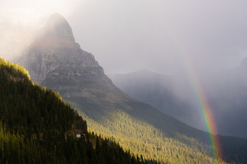Wall Mural - Rainbow Fall Color Rocky Mountains Glacier National Park Montana