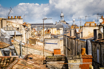 France,Bordeaux,rooftops and chimneys.