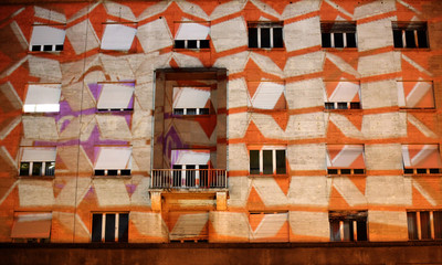 3D geometric shapes are seen mapped and projected by performance art group Zebra onto a building in Zagreb's main square
