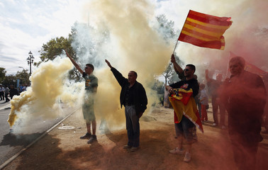 Ultra right wing demonstrators make fascist salutes through smoke from flares during Spain's National Day in Barcelona