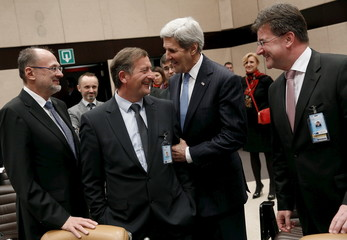 Kerry meets Erjavec and Lajcak as they arrive for a NATO ministerial meeting on Resolute Support operations in Afghanistan, at NATO Headquarters in Brussels