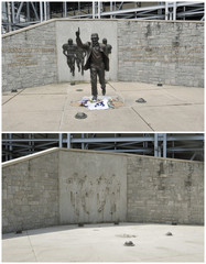 Combination photo shows Joe Paterno statue before and after it has been removed in State College, Pennsylvania