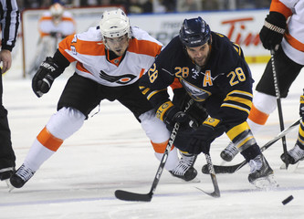 Buffalo Sabres' Gaustad battles Philadelphia Flyers' Briere during their NHL Eastern Conference hockey game in Buffalo