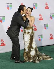 Colombian motivational speaker Karen Hoyos arrives at the 11th annual Latin Grammy Awards in Las Vegas