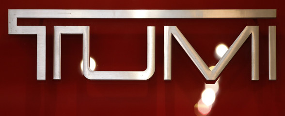 The logo of Tumi is seen in a shop in downtown Rome