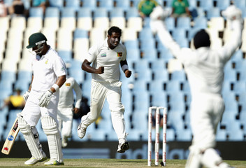 Mathews of Sri Lanka celebrates the dismissal of South Africa's Prince during their first test cricket match in Centurion