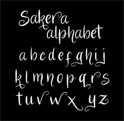 Sakera vector alphabet lowercase characters. Good use for logotype, cover title, poster title, letterhead, body text, or any design you want. Easy to use, edit or change color.