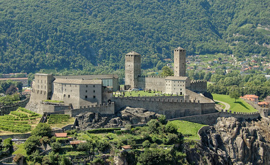 Castelgrande is a medieval castle dating from 13th century on a rocky hilltop - Bellinzona, Switzerland